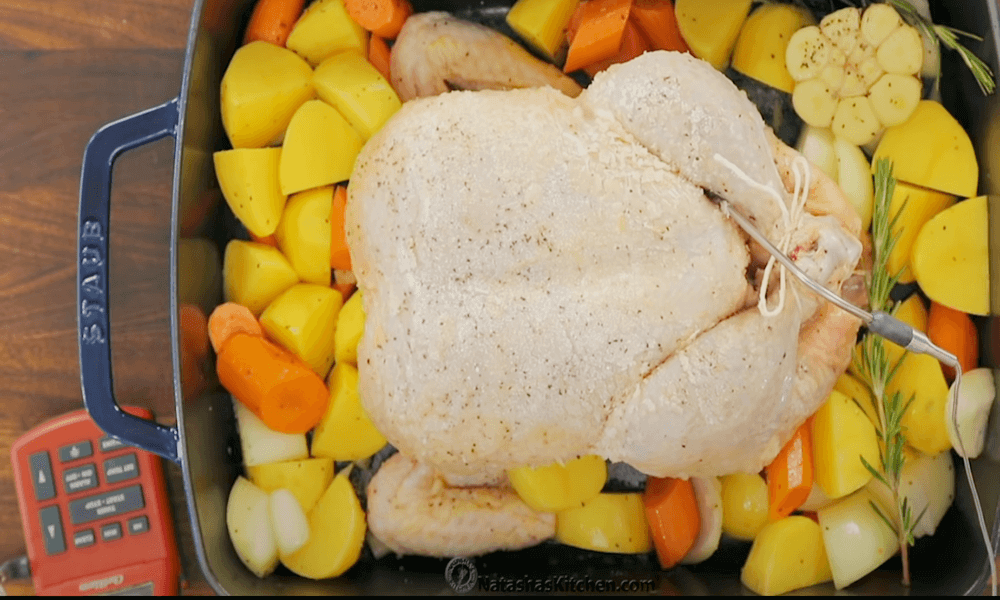 Putting an oven thermometer in this chicken that tells you when chicken is ready