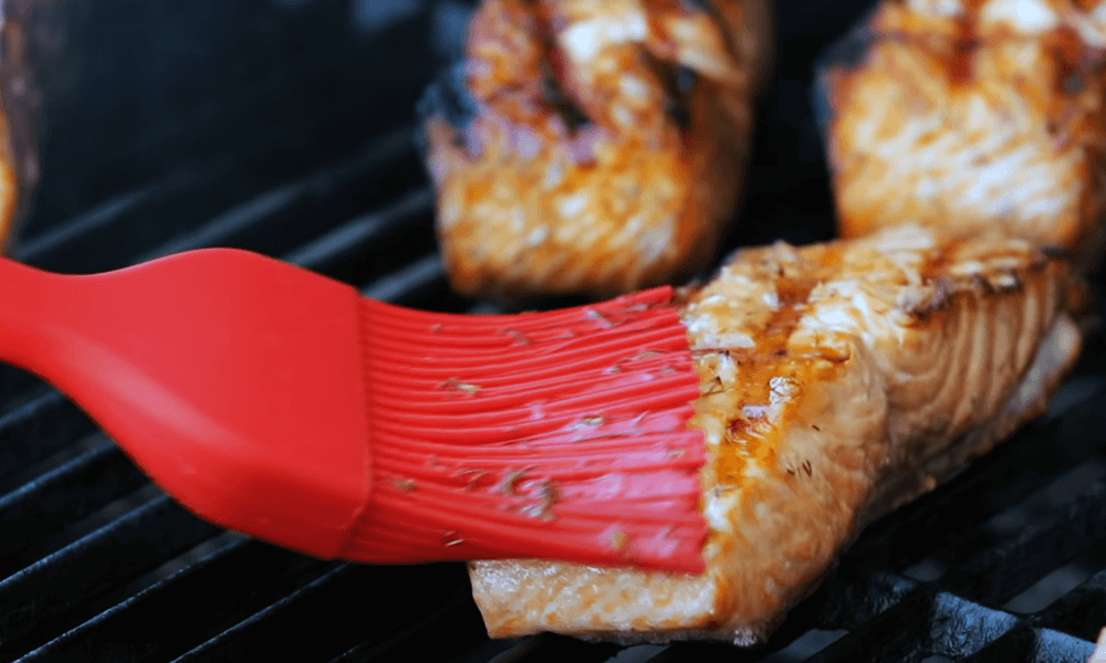 Brush the salmon with oil