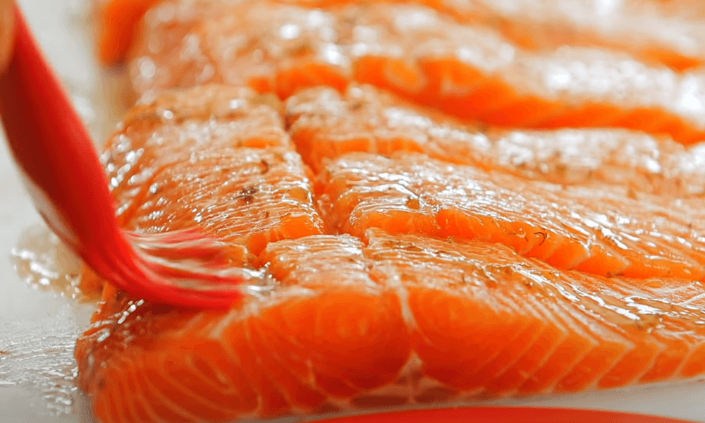 brush the salmon with sauce